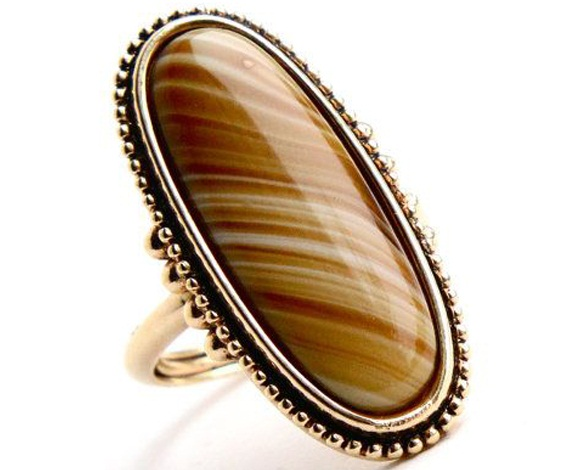 vintage yellow brown stone ring