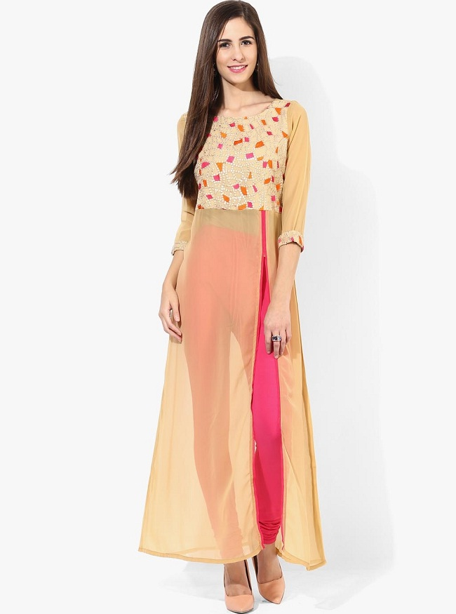 beige embroidered front slit kurti