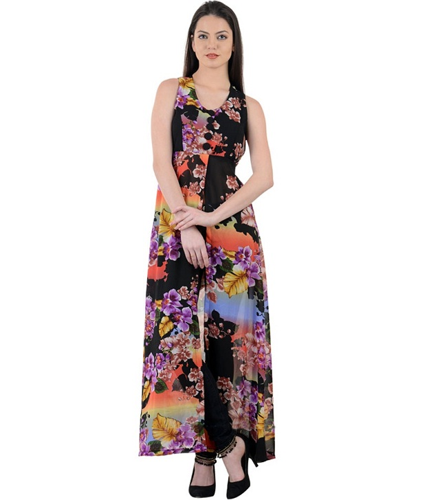 black floral printed front slit kurti. Latest Designer Kurtis with Different Cut Types   LooksGud in