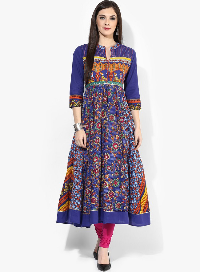 Mughal Motif Blue Printed Anarkali Kurti With 3/4Th Sleeves