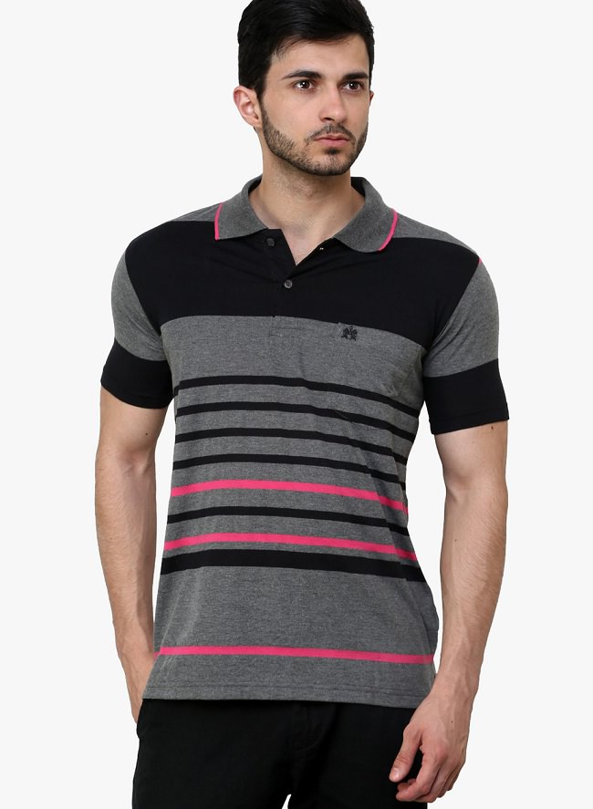 cotton county premium black striped polo t-shirt