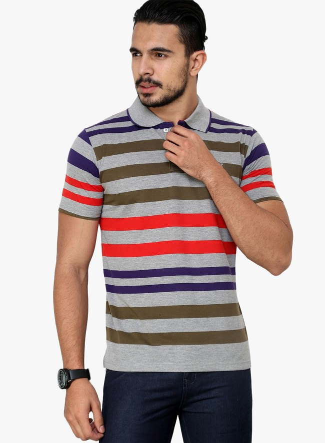 cotton county premium multicolor striped polo t-shirt