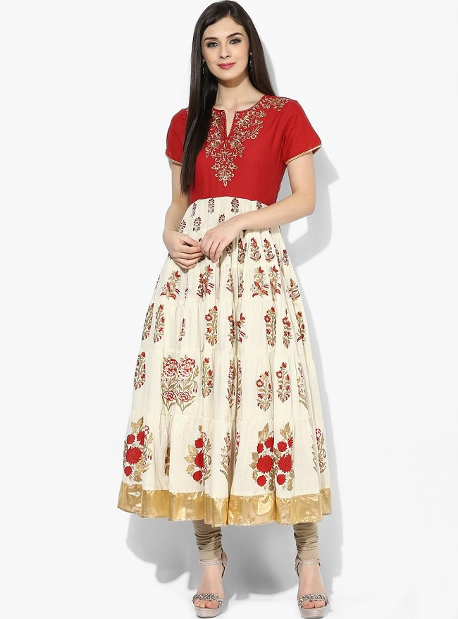 cream red block printed anarkali kurti