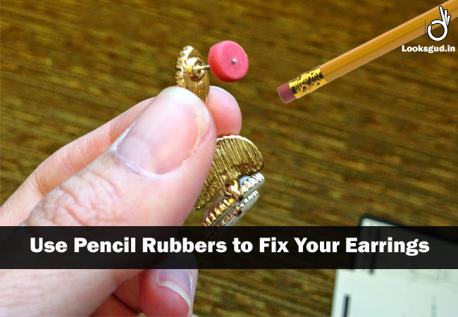jewellery hacks- use pencil rubbers to quickly replace a earring back