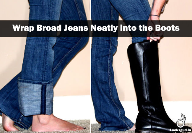 jeans hacks, how to tuck jeans into boots