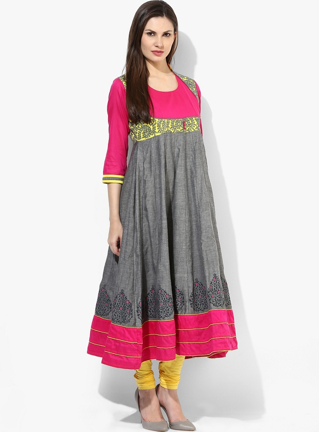 Grey Embellished Cotton Mandarin Collar Knee Length Anarkali