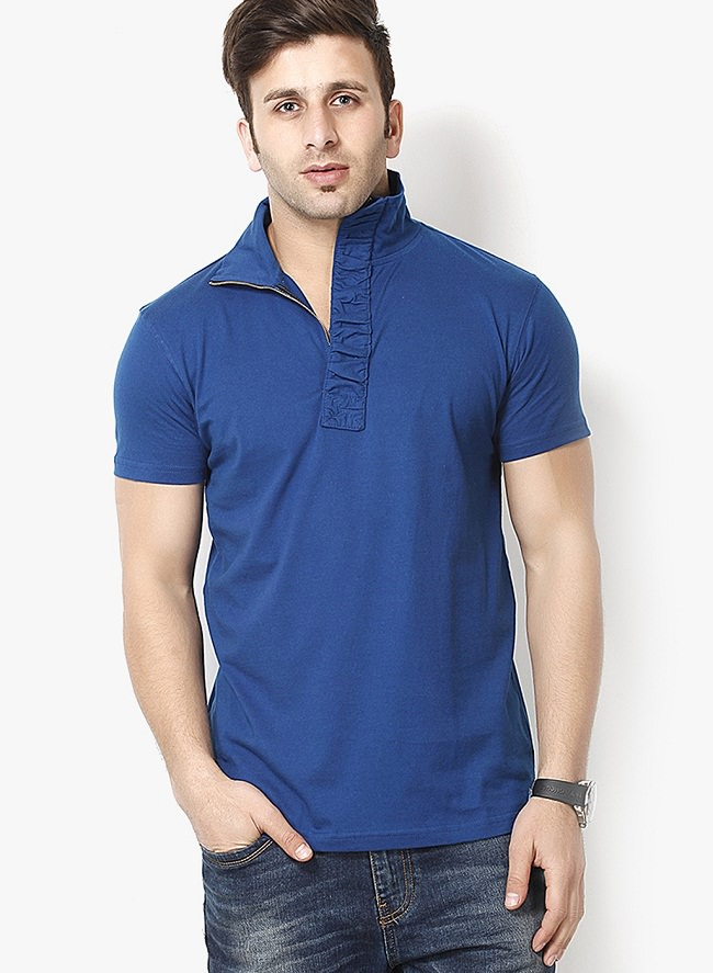 grilstones blue solid polo t-shirt