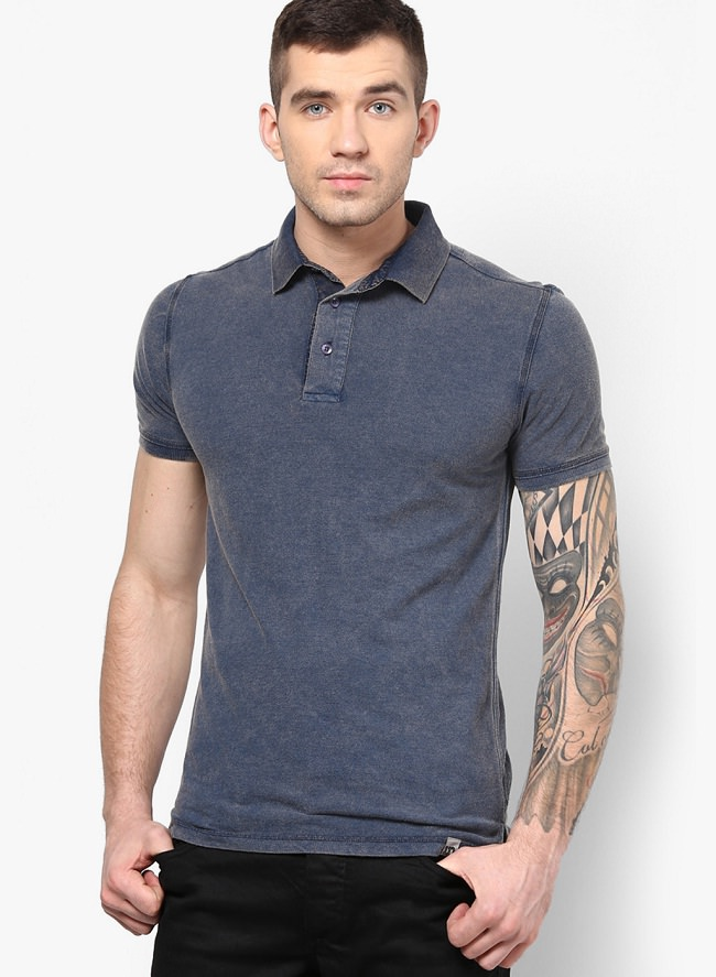 incult navy blue solid polo t-shirt
