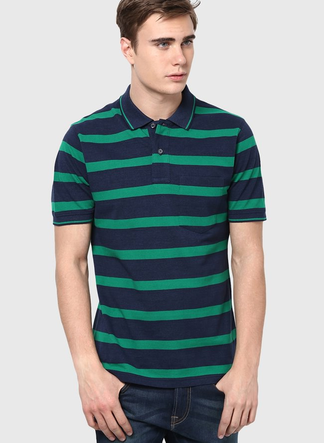 incult navy blue striped polo t-shirt