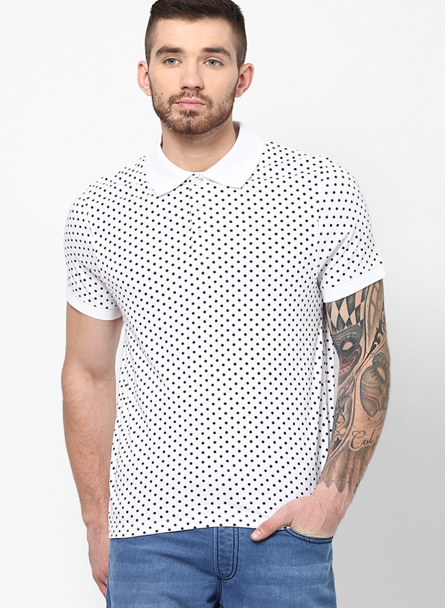 incult white printed polo t-shirt