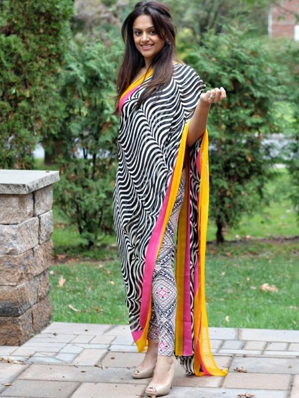 dhoti style saree with contrast leggings