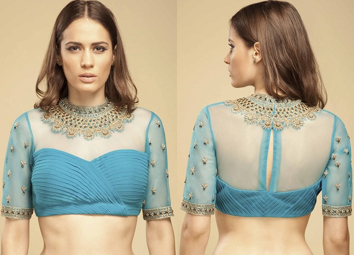 jewel neck net blouse designs catalogue