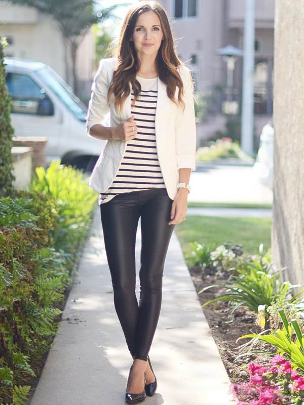 white blazer striped top with leather black leggings