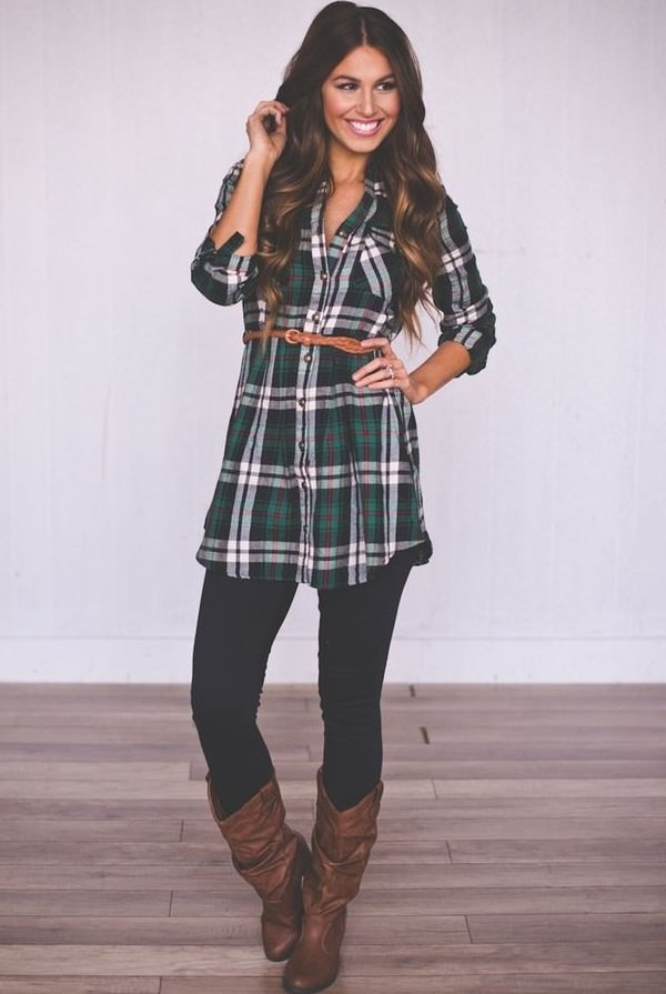 shirt style dress with contrast leggings