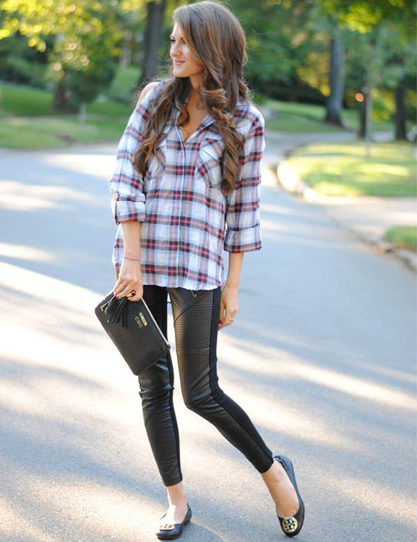 blue checked shirt with black leather leggings