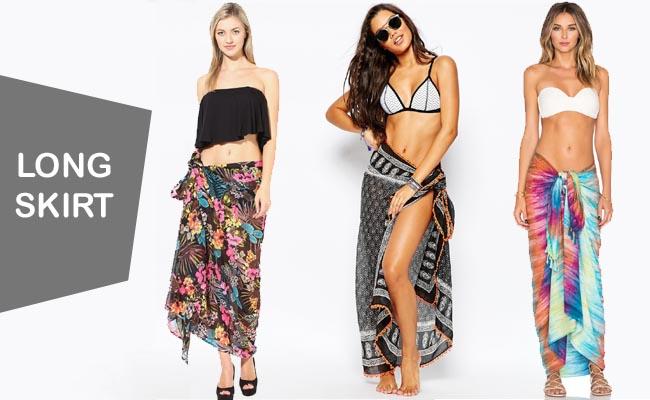 5c71f9f6f83c9 A long skirt can also be quickly made with a sarong over a bikini or  swimsuit. Place your sarong at your waistline, from the back to the front  and tie the ...