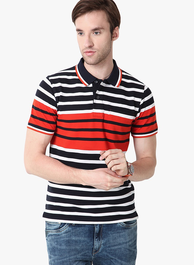 mudo black striped polo t-shirt