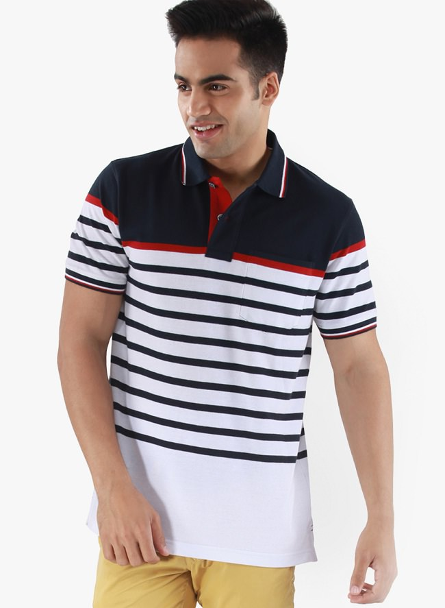 mudo white striped polo t-shirt