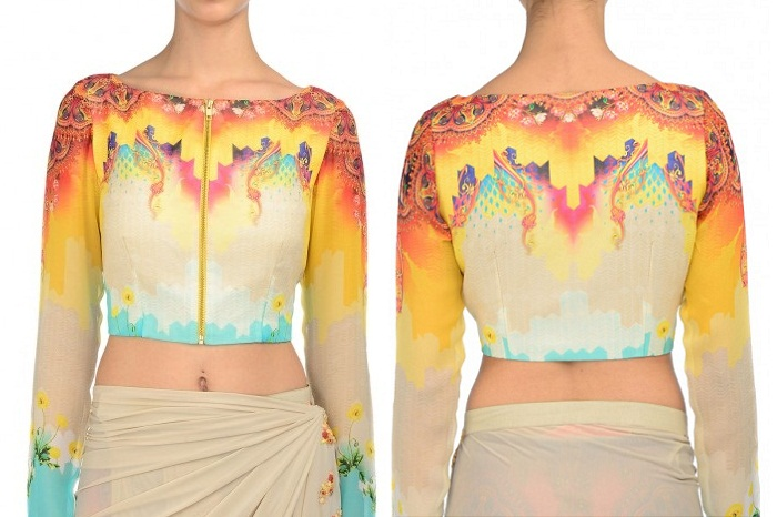 multicolor graphic print blouse work