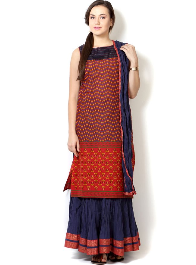multicolor kurti with skirt