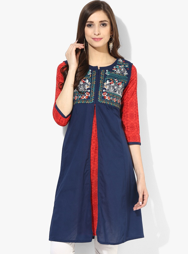 navy blue red front slit kurti