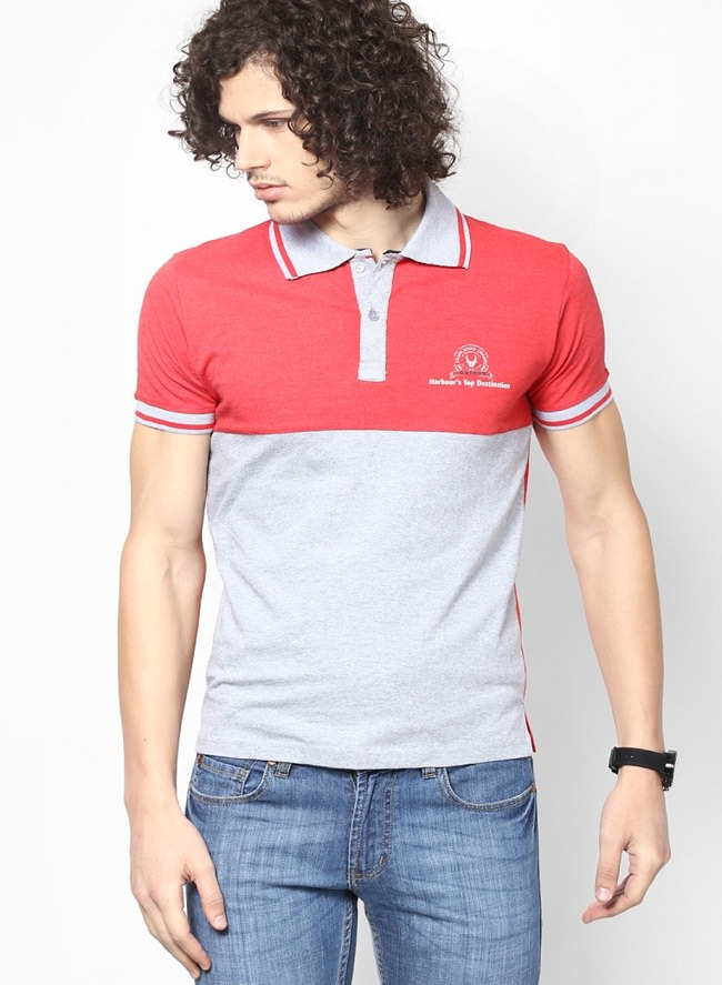 obidos gray red color block polo t-shirt