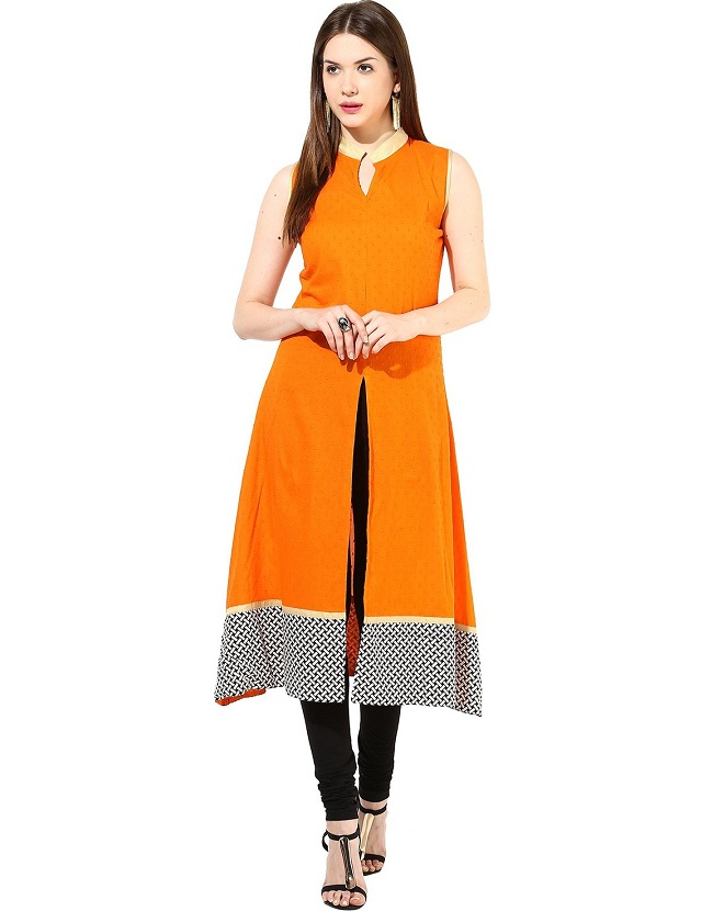 orange kurta with front open slit