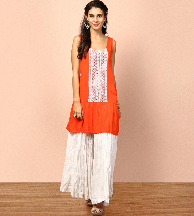 orange kurti with palazzo