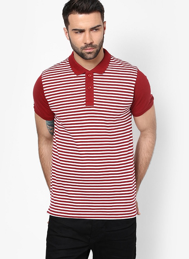 phosphorus red striped polo t-shirt