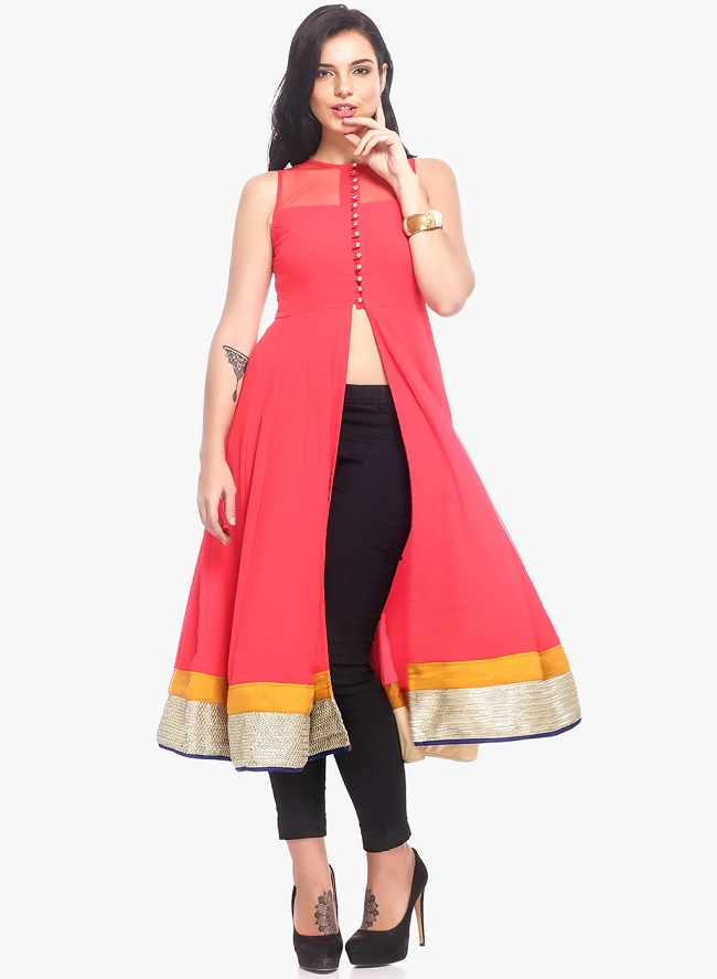 pink solid front open slit kurti