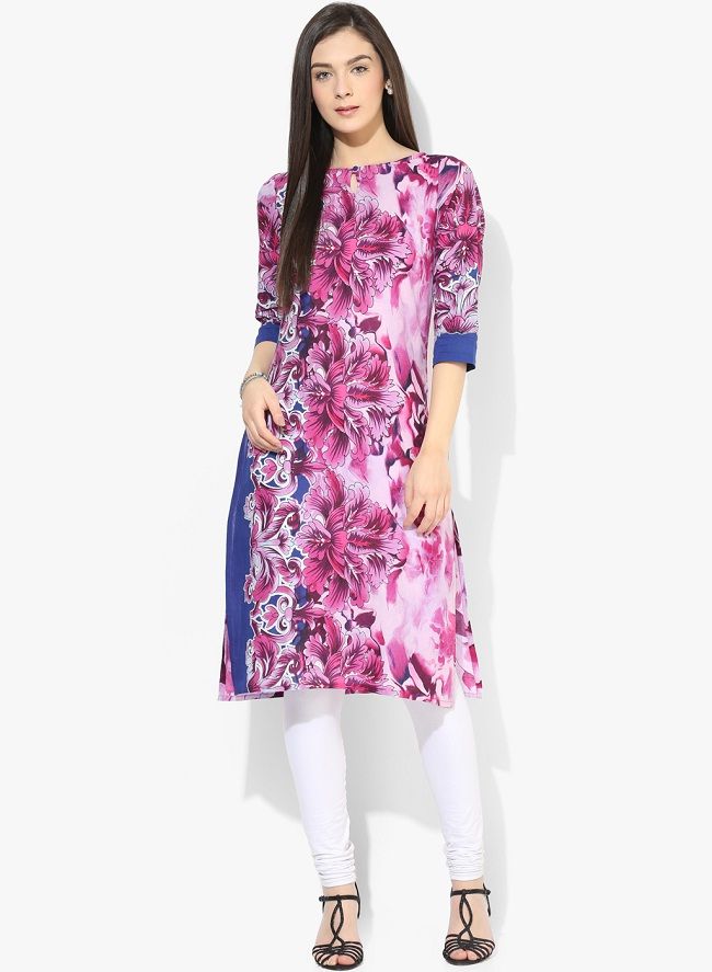 Purple Printed Knee Length Keyhole Boat Neck Cotton Kurta