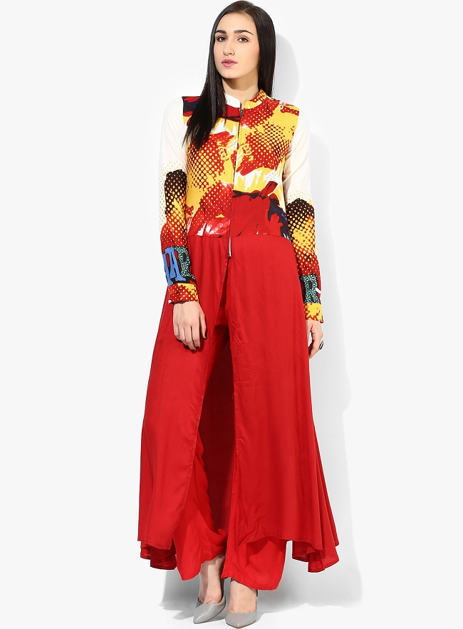 red front open slit kurti