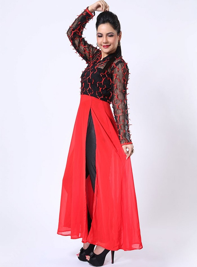 red kurti with front slit