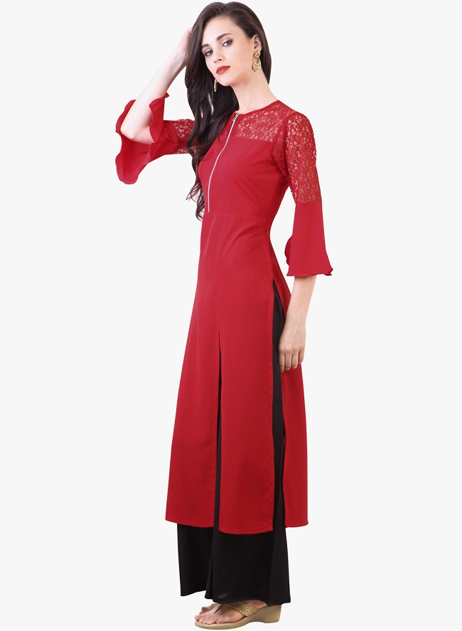 red solid front slit kurti