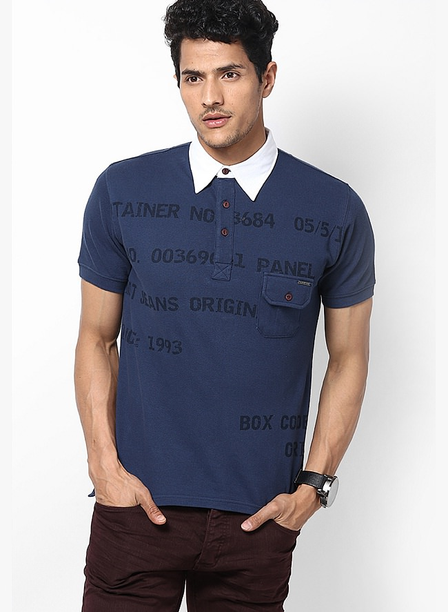 riot jeans blue printed polo t-shirt