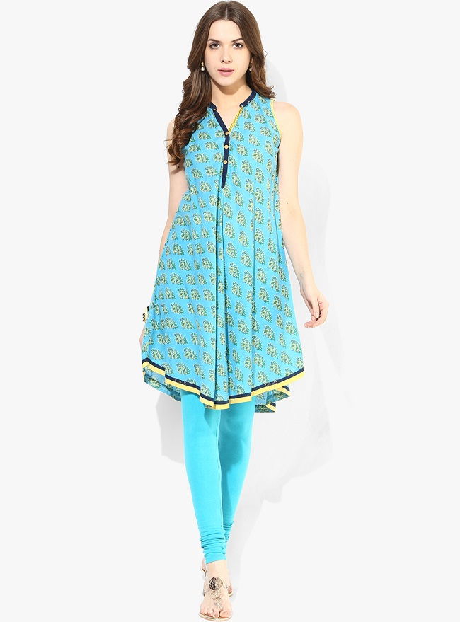 Round Neck Blue Printed Cotton Kurti
