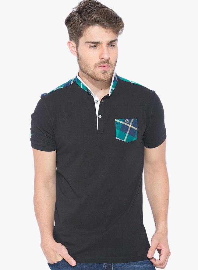 status quo black solid polo t-shirt