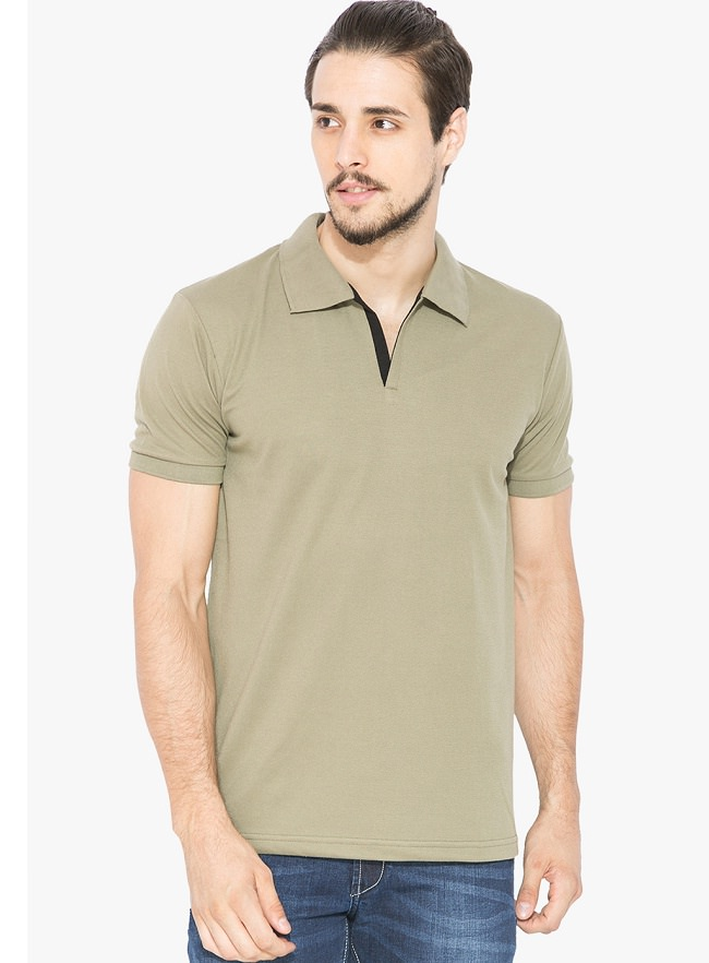 status quo olive solid polo t-shirt
