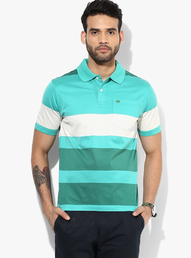 uvw green striped polo t-shirt