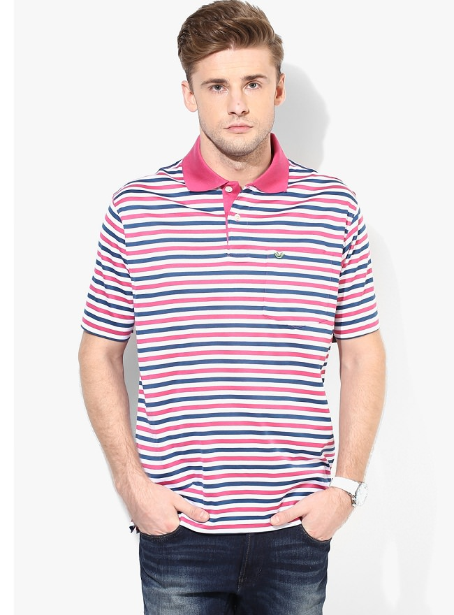 uvw multicolor striped polo t-shirt