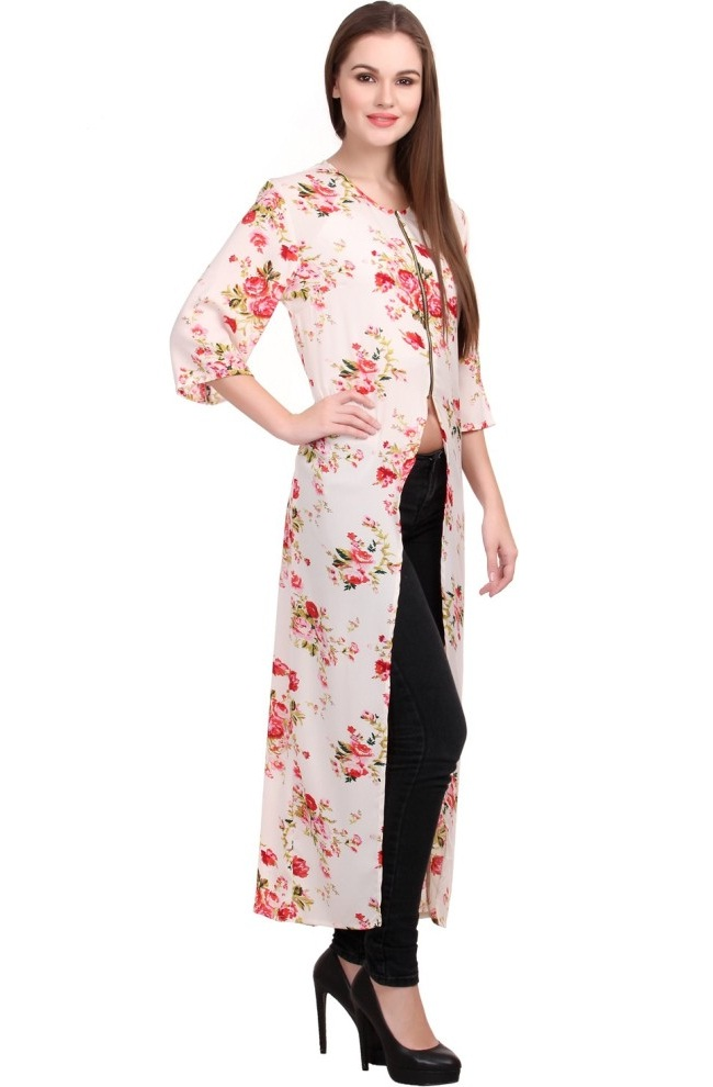 white floral kurti with front open slit