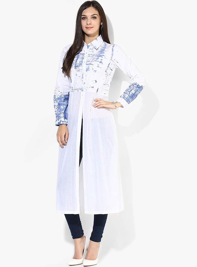 White Shirt Style Full Sleeves Collar Kurti With Front Slit