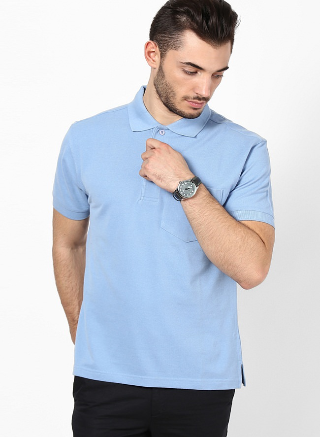wilkins tuscany blue solid polo t-shirt