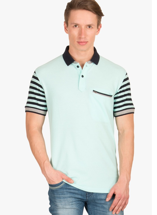 wilkins tuscany light blue striped sleeves polo t-shirt