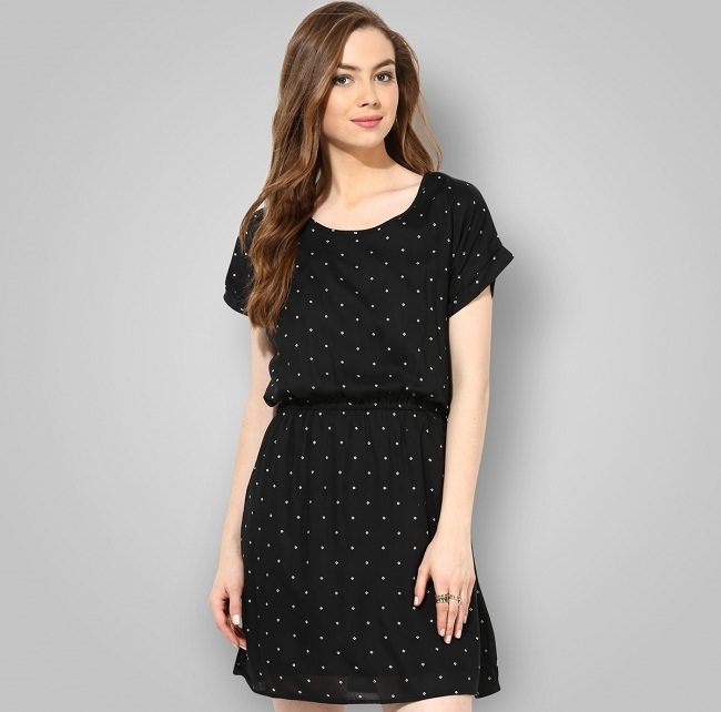 af0bfb8daa1bc black printed a-line dress, names of different types of dresses