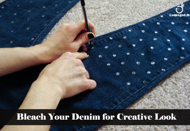 bleach your denim with creative look