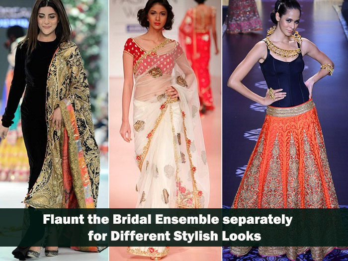 Smart way to reuse bridal lehenga is flaunt the bridal ensemble separately for different stylish looks