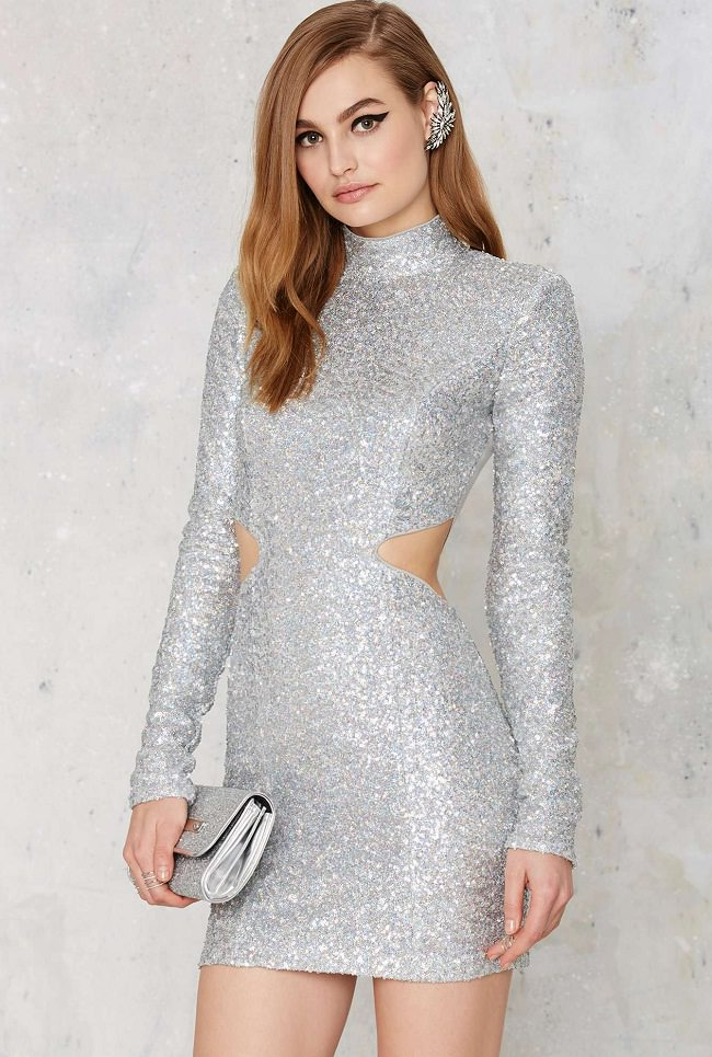 gray sequin party dress, different types of dress styles
