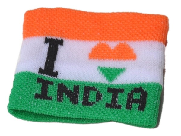 I Love India cricket Wristband In National Colors