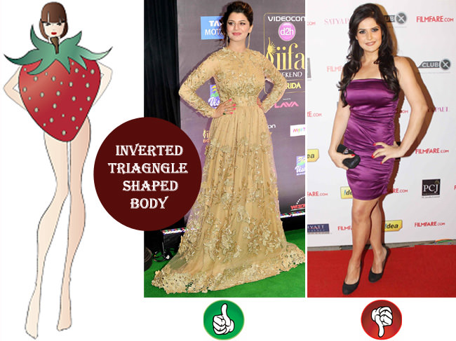 inverted triangle shaped body